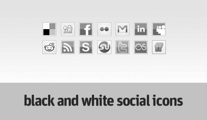 black and white facebook icon. Here's a new tiny icon-set. This time the icons are in black and white.